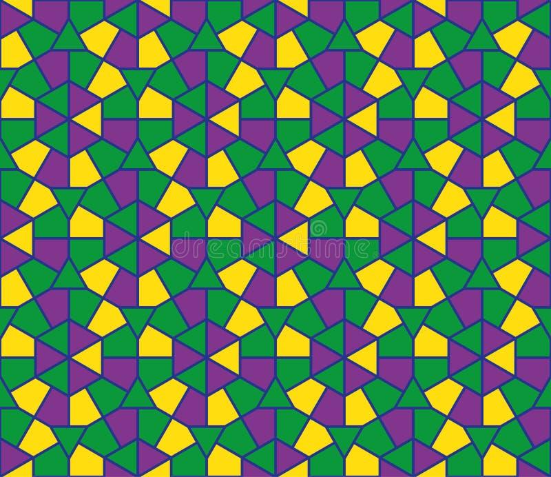 Nahtloses Muster der islamischen runden bunten Verzierung Mosaikkreishintergrund Vektor und Illustration vektor abbildung