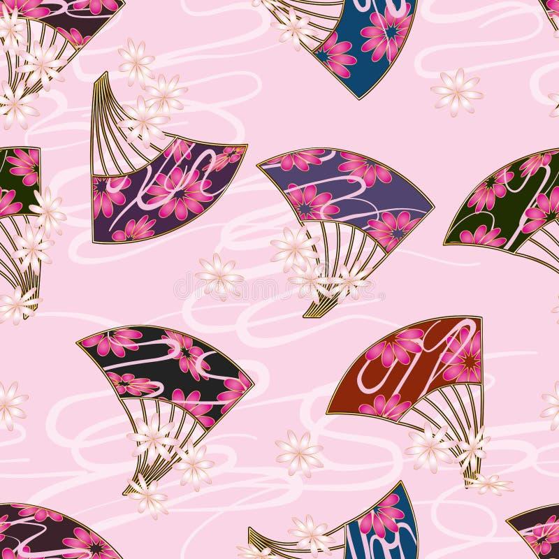 Nahtloses Muster der Japan-Fanblumen-Art stock abbildung