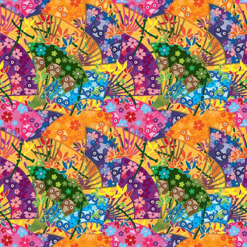 Nahtloses Muster der japanischen Fankurven-Eule stock abbildung