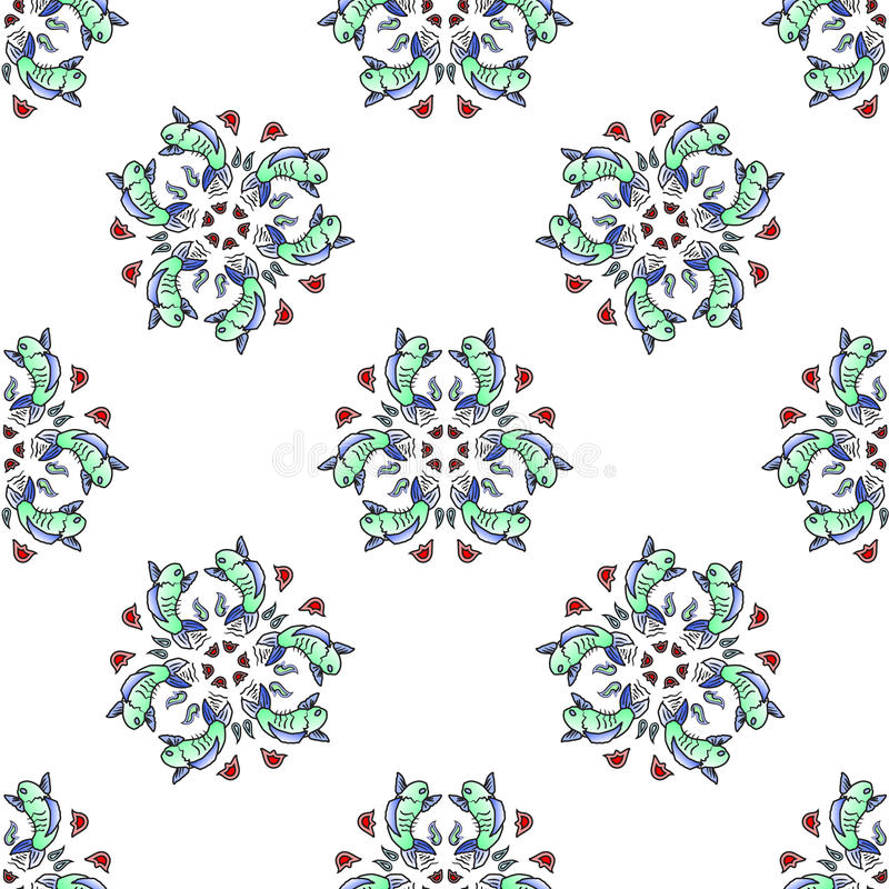Nahtloses Muster der königlichen Karpfenfisch-Art lizenzfreie abbildung