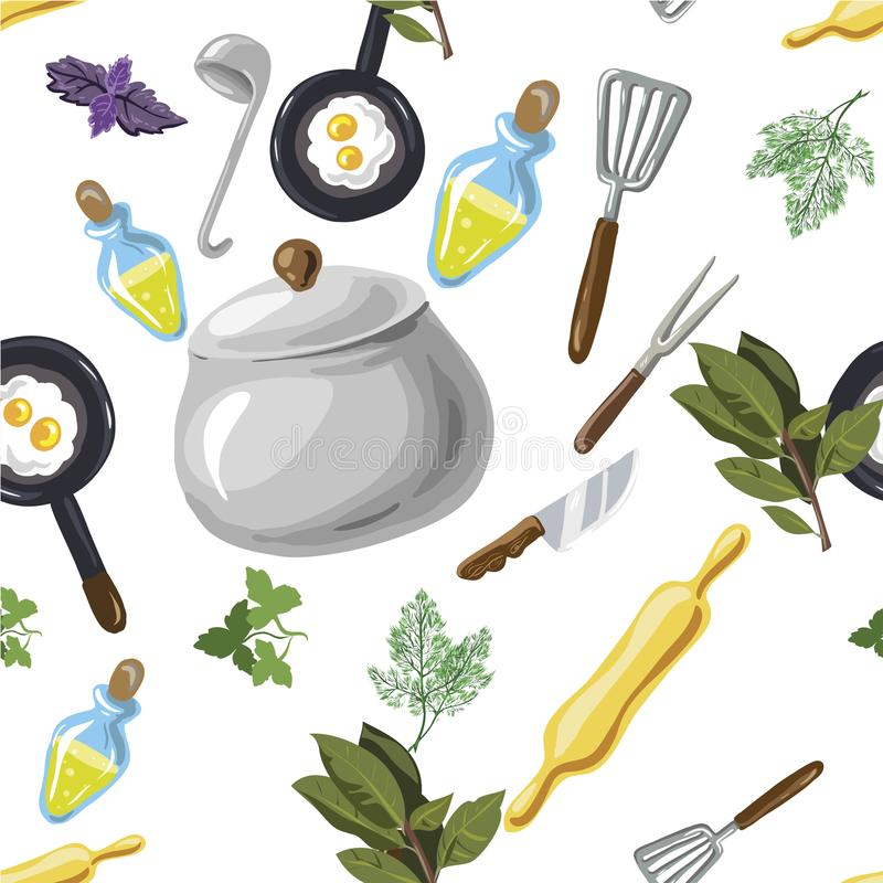 Nahtloses Muster der Küchengeräte Hand gezeichnete Pop-Arten-Karikaturart Auch im corel abgehobenen Betrag stock abbildung