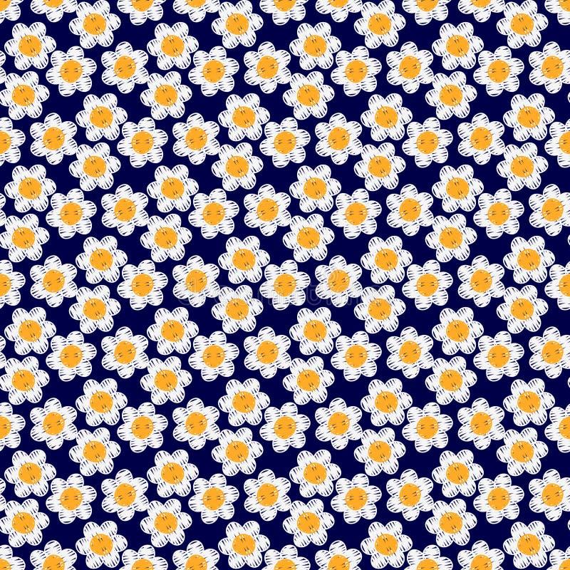 Nahtloses Muster der Kamillenstickerei Hand genähtes Blumentextilmuster vektor abbildung