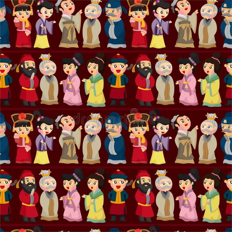 Nahtloses Muster der Karikatur chinesisches Volk stock abbildung
