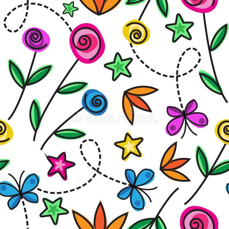Nahtloses Muster der Karikatur mit Blumen lizenzfreie abbildung