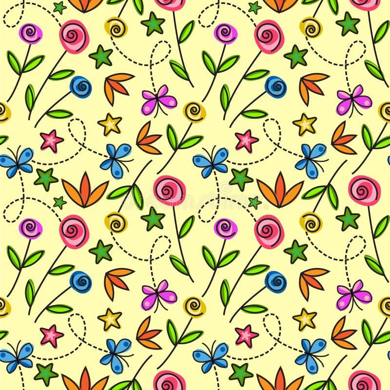 Nahtloses Muster der Karikatur mit Blumen und Schmetterlingen stock abbildung