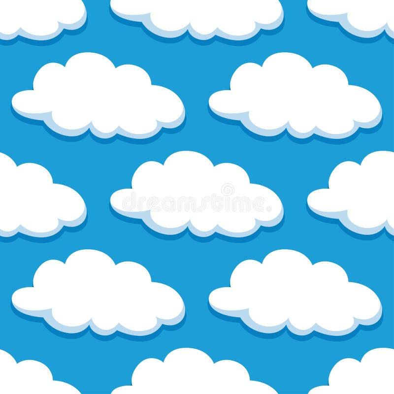 Nahtloses Muster der Karikatur mit weißen Wolken lizenzfreie abbildung
