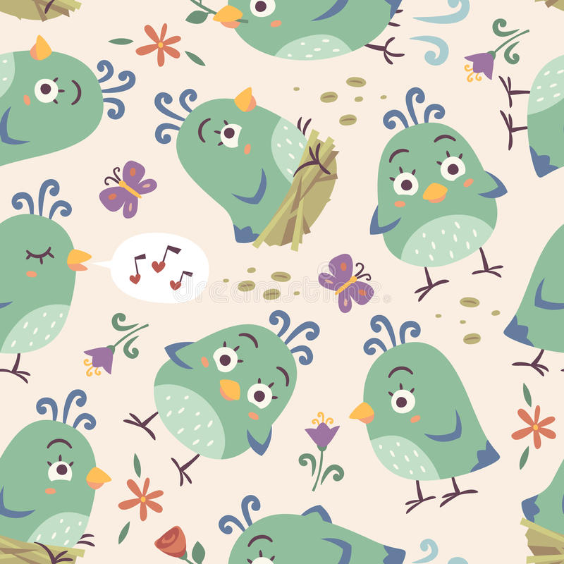 nahtloses Muster der Karikaturart-Vögel vektor abbildung