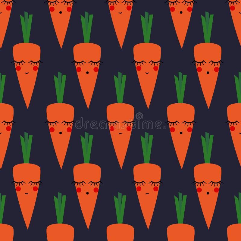 Nahtloses Muster der Karotten für Kinderfeiertage Netter Babypartyvektorhintergrund lizenzfreie abbildung