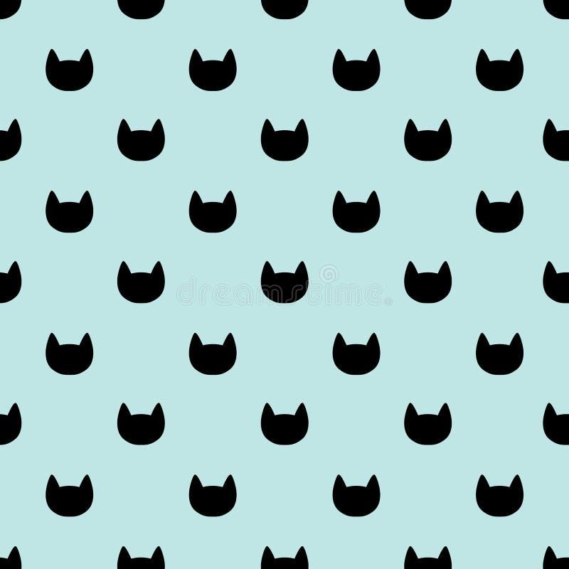 Nahtloses Muster der Katzenk?pfe Blauer und schwarzer grafischer Hintergrund stock abbildung