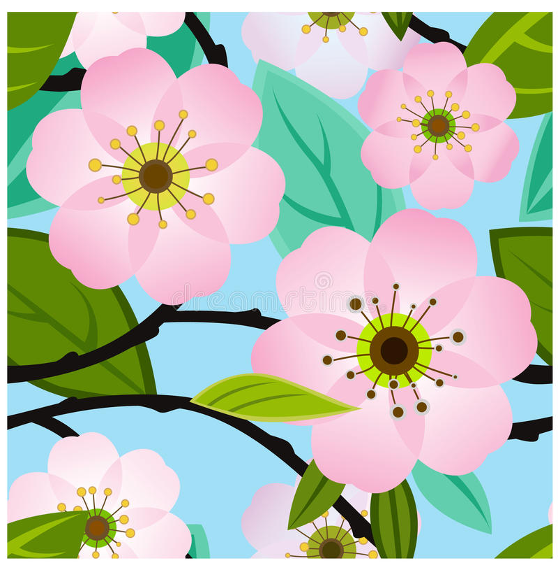 Nahtloses Muster der Kirschblüte lizenzfreie abbildung