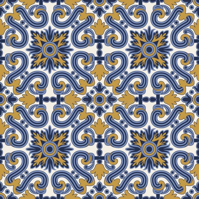 Nahtloses Muster der klassischen Weinlese im Blau und im Gelb vektor abbildung