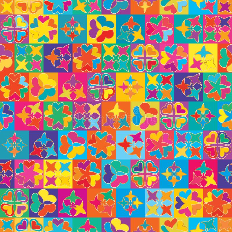 Nahtloses Muster der kleinen bunten Symmetrie der Sternliebe vektor abbildung