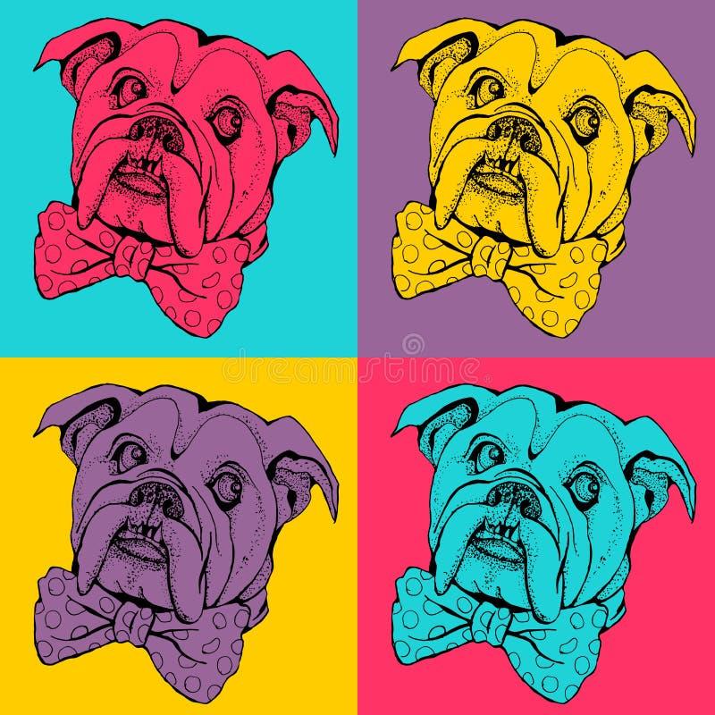 Nahtloses Muster der Knallkunst Porträt der Hundbulldogge lizenzfreie abbildung