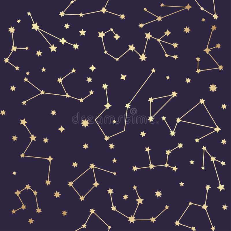 Nahtloses Muster der Konstellationen Goldene Sterne Vektor illustrati lizenzfreie abbildung