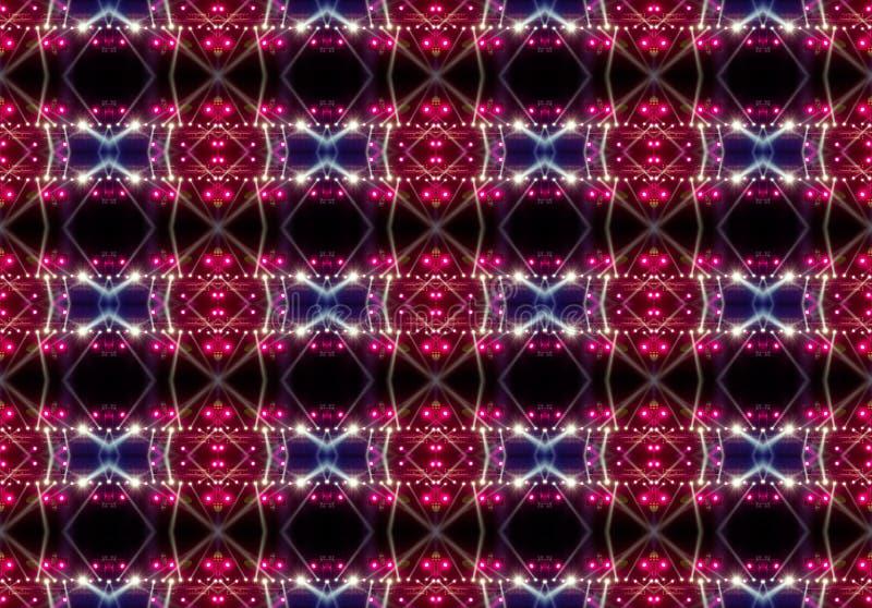 Nahtloses Muster der Konzertbeleuchtung gegen einen dunklen Hintergrund lizenzfreies stockfoto