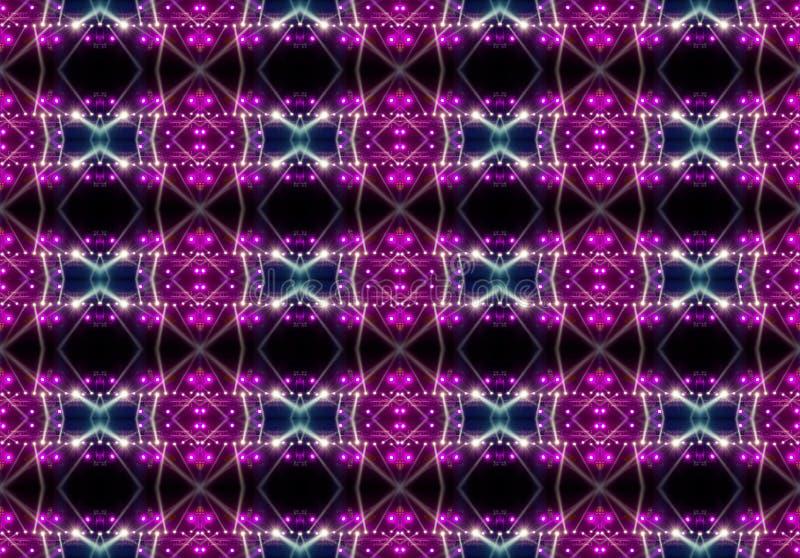 Nahtloses Muster der Konzertbeleuchtung gegen einen dunklen Hintergrund stockfotos