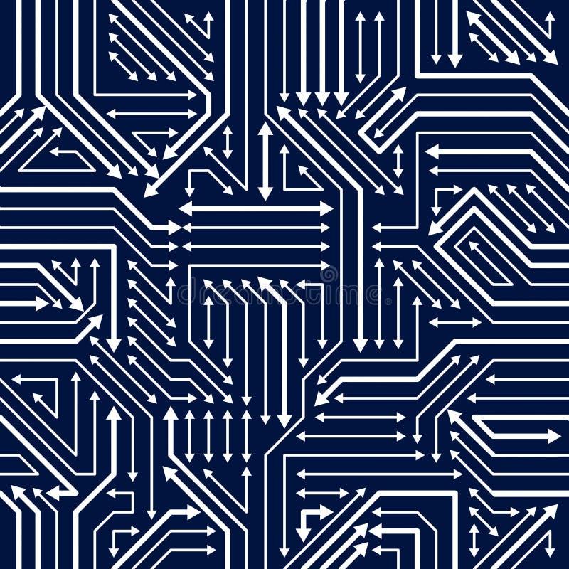 Nahtloses Muster der Leiterplatte, Vektorhintergrund Mikrochip technisch stock abbildung