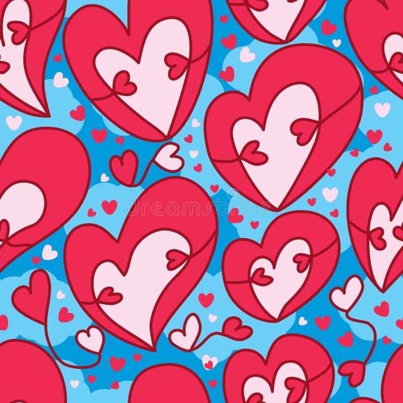 Nahtloses Muster der Liebesdoppeltumarmungshimmel-Fliege lizenzfreie abbildung