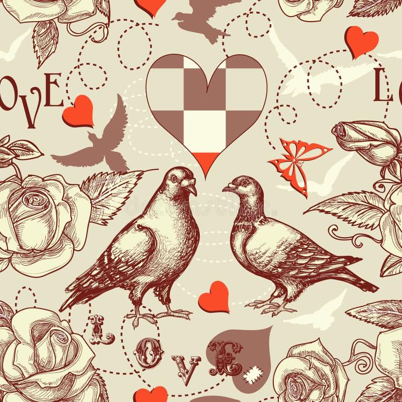 Nahtloses Muster der Liebesvögel lizenzfreie abbildung