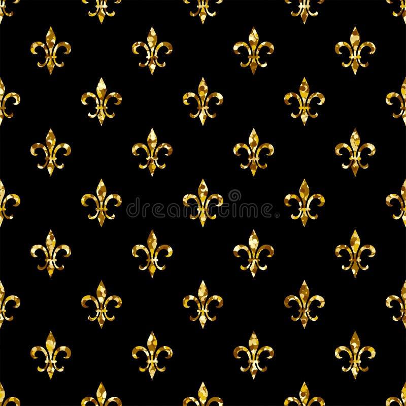 Nahtloses Muster der Lilie Ols-Artschablone Klassische mit Blumenbeschaffenheit Retro- Hintergrund königlicher Lilie Fleur de Lis lizenzfreie abbildung