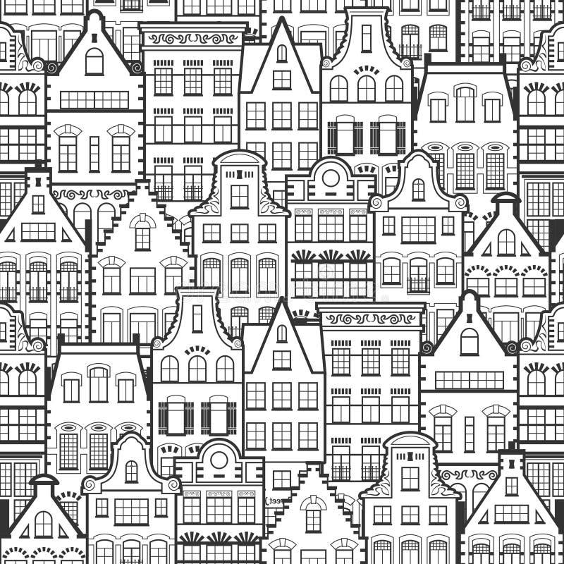 Nahtloses Muster der Linie alte Häuser Art Hollands vektor abbildung