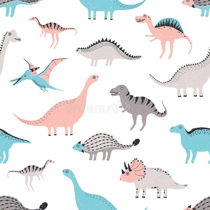 Nahtloses Muster der lustigen Dinosaurier Netter kindischer Dino-Hintergrund Bunte Hand gezeichnete Beschaffenheit lizenzfreie abbildung