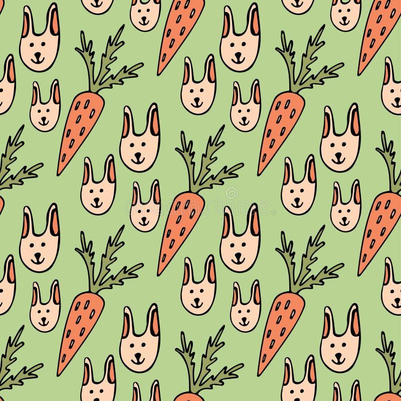 Nahtloses Muster der lustigen Karikatur für Kinder oder Ostern-Hintergrund Kaninchen und Karotten stock abbildung