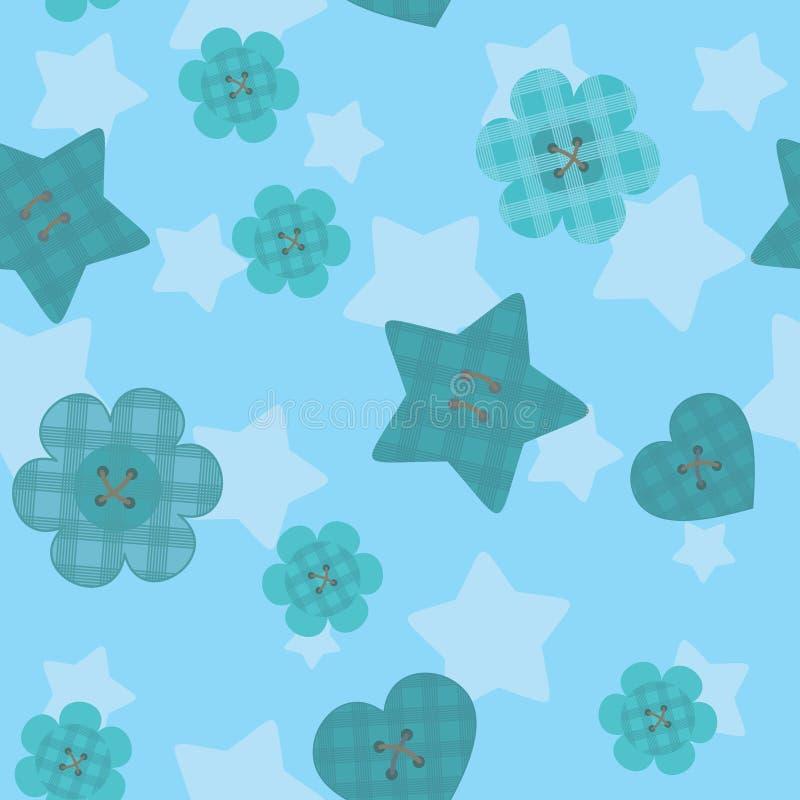Nahtloses Muster der lustigen kleinen Knöpfe auf Abendhintergrund vektor abbildung