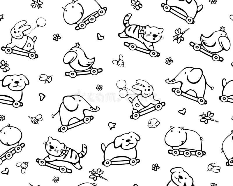Nahtloses Muster der lustigen Tiere für Schätzchenauslegung. lizenzfreie abbildung