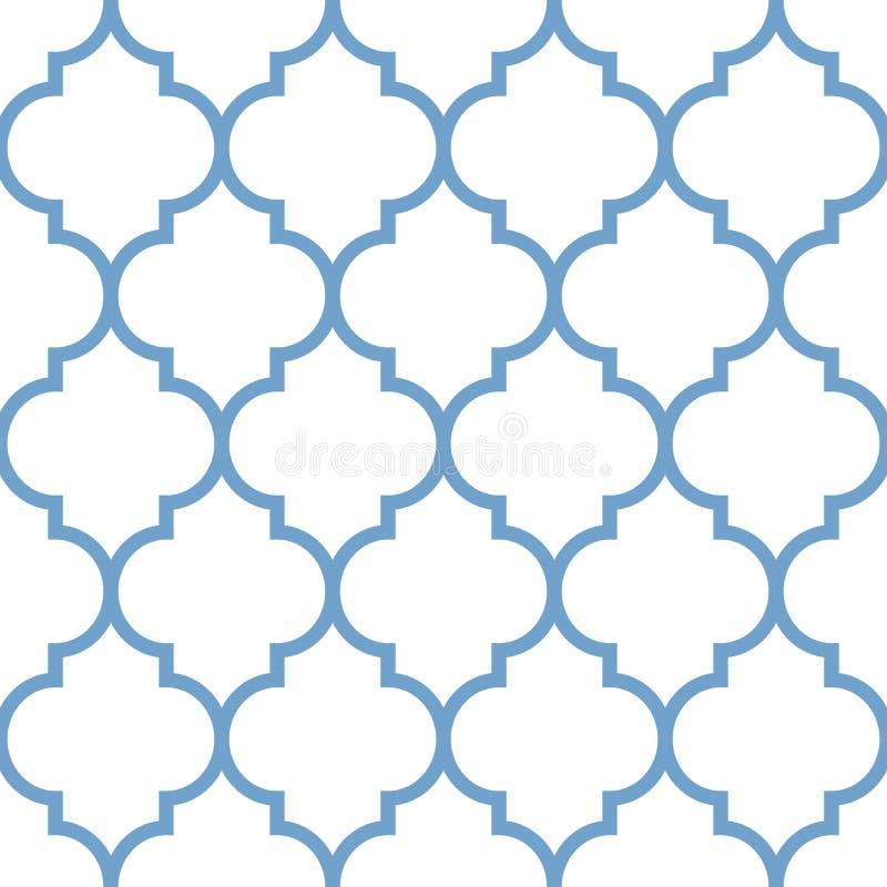 Nahtloses Muster der marokkanischen Wiederholung des Vektors Hellblau auf weißem Hintergrund lizenzfreie abbildung