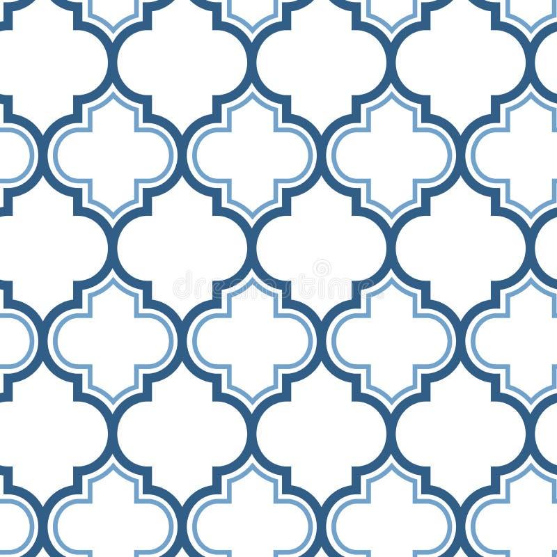Nahtloses Muster der marokkanischen Wiederholung des Vektors Hellblau auf weißem Hintergrund vektor abbildung