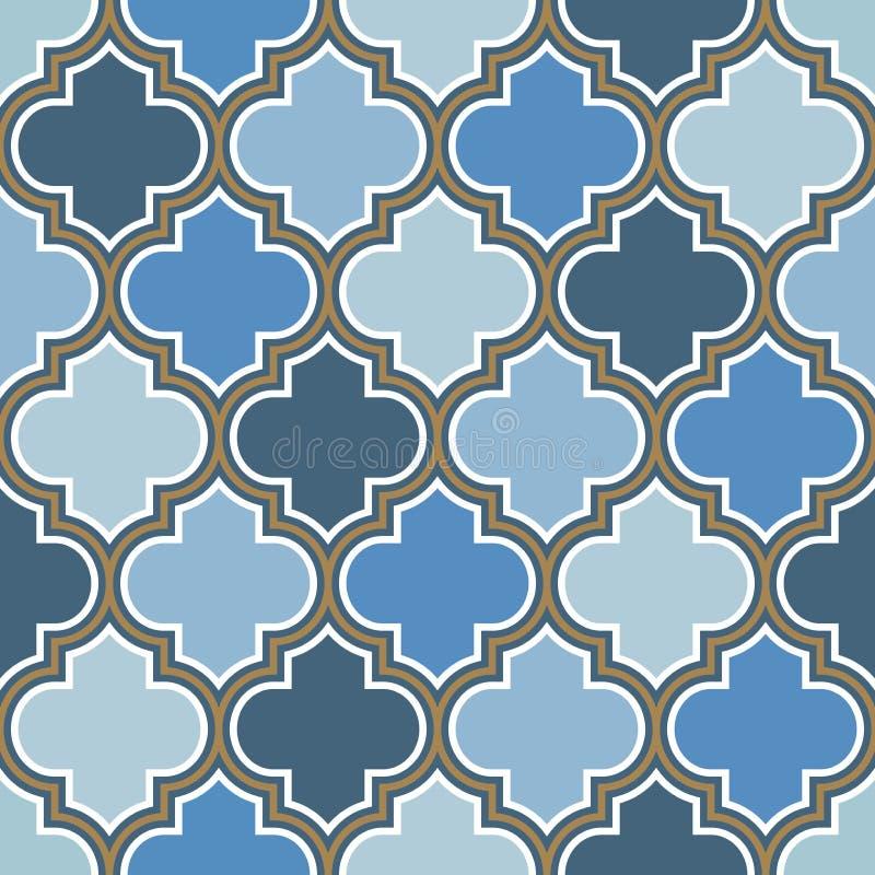 Nahtloses Muster der marokkanischen Wiederholung des Vektors Hellblau, Goldbeige Linie auf weißem Hintergrund lizenzfreie abbildung