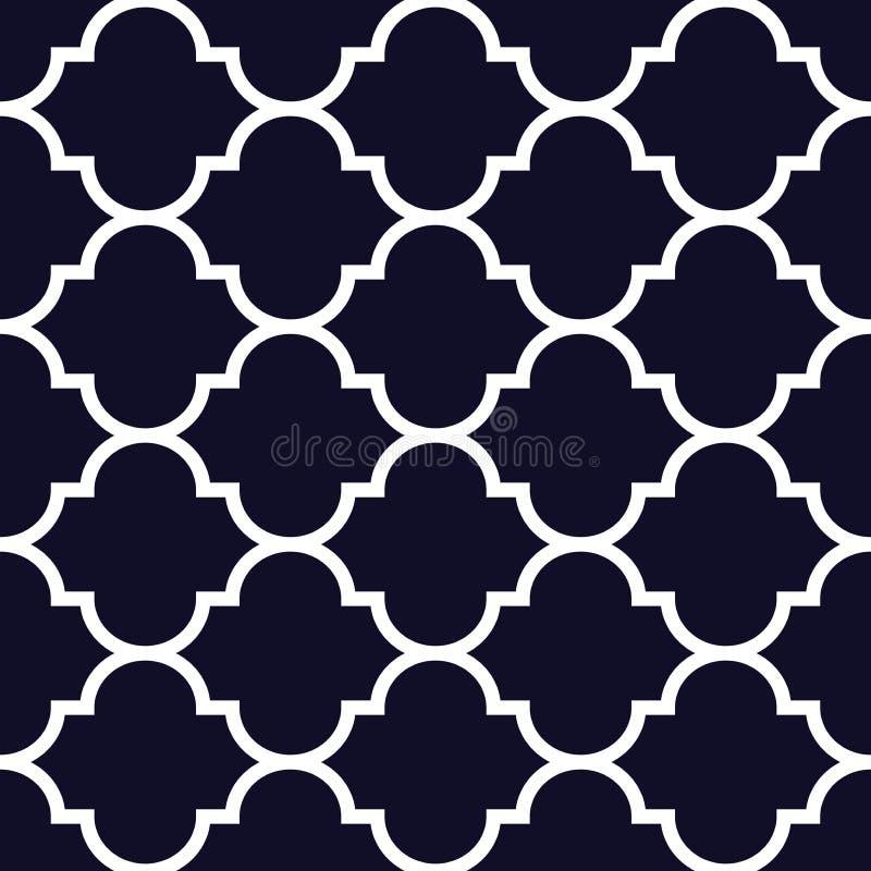 Nahtloses Muster der marokkanischen Wiederholung des Vektors Weiß auf dunkelblauem Hintergrund lizenzfreie abbildung