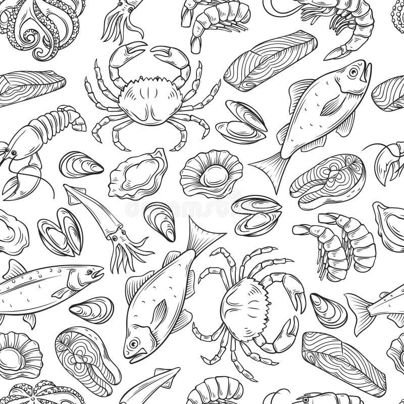 Nahtloses Muster der Meeresfrüchte stock abbildung
