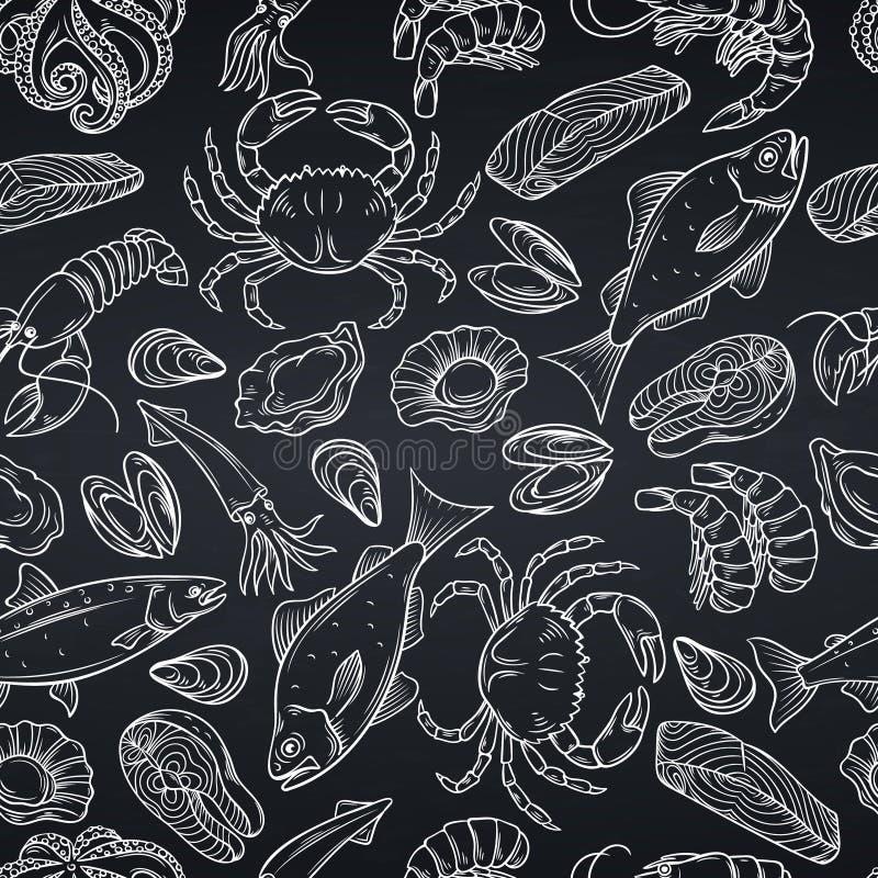 Nahtloses Muster der Meeresfrüchte lizenzfreie abbildung