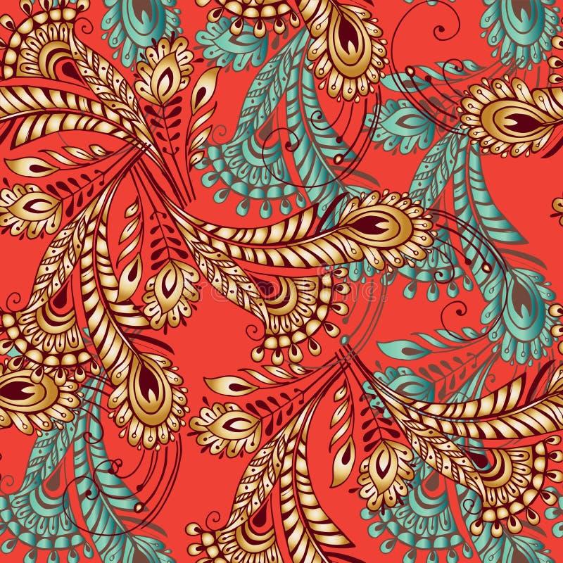 Nahtloses Muster der mehrfarbigen Federn in der orientalischen Art Dekorum lizenzfreie abbildung