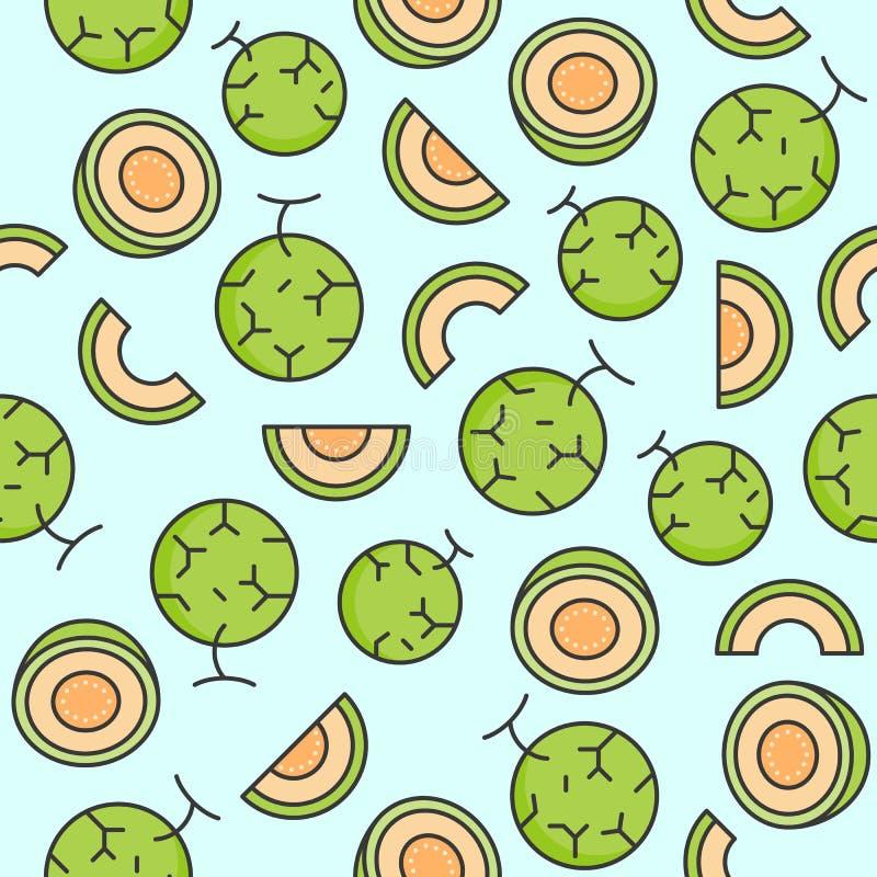 Nahtloses Muster der Melone oder der Kantalupe für Tapete oder Verpackungsp lizenzfreie abbildung