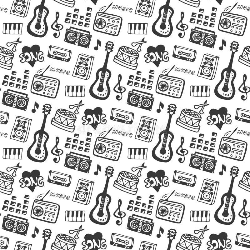 Nahtloses Muster der Musik mit Musikinstrumenten des Gekritzels und soliden Elementen Vektorillustrations-Musikdruck stock abbildung