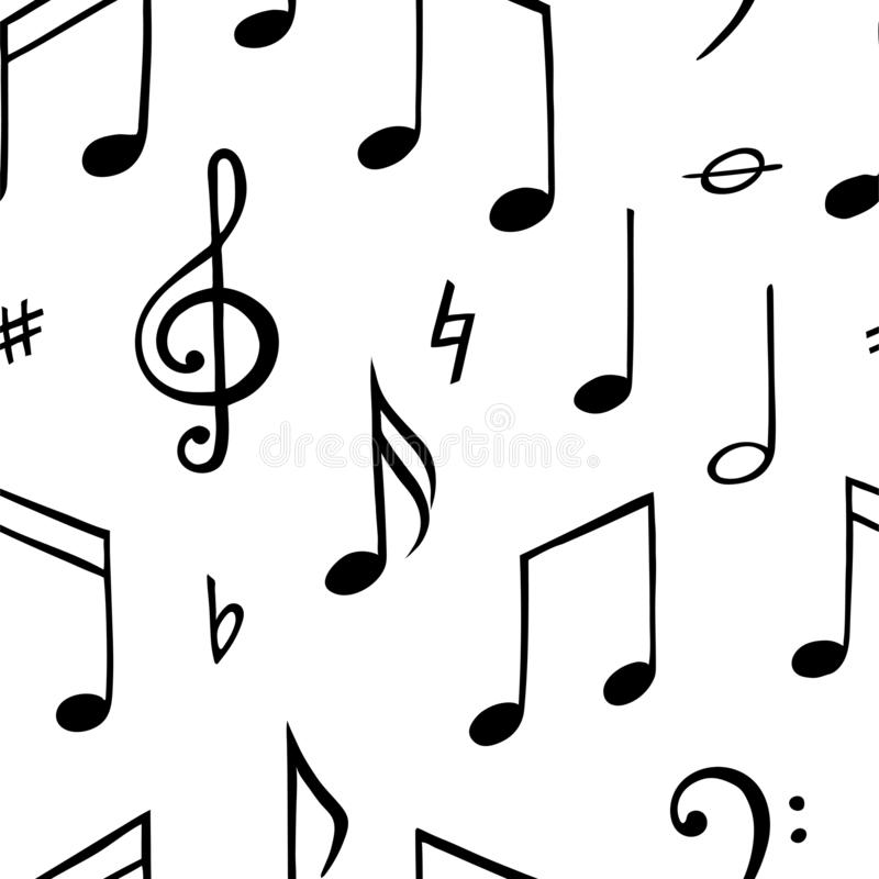 Nahtloses Muster der Musikanmerkung Junger Mann läuft in Stadt stock abbildung