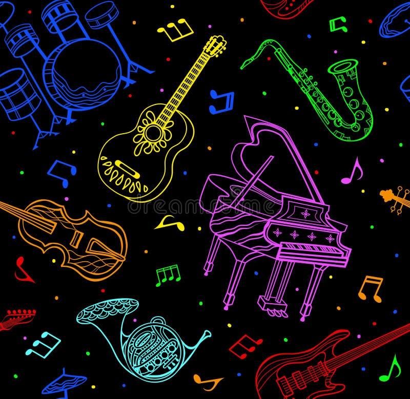 Nahtloses Muster der Musikinstrumente lizenzfreie abbildung