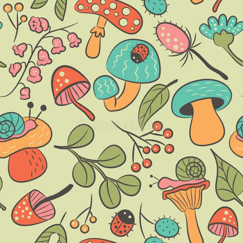 Nahtloses Muster der Natur mit Pilz, Marienkäfer, Schnecke, blühen a vektor abbildung