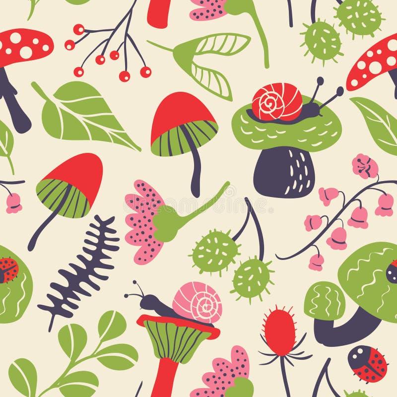 Nahtloses Muster der Natur mit Pilz, Marienkäfer, Schnecke, blühen a stock abbildung
