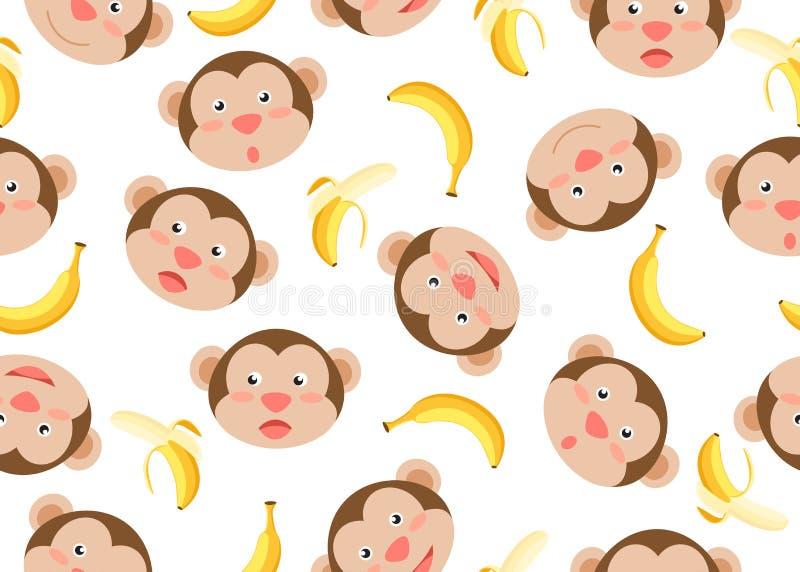 Nahtloses Muster der netten Gesichtsaffekarikatur mit Banane auf weißem Hintergrund vektor abbildung