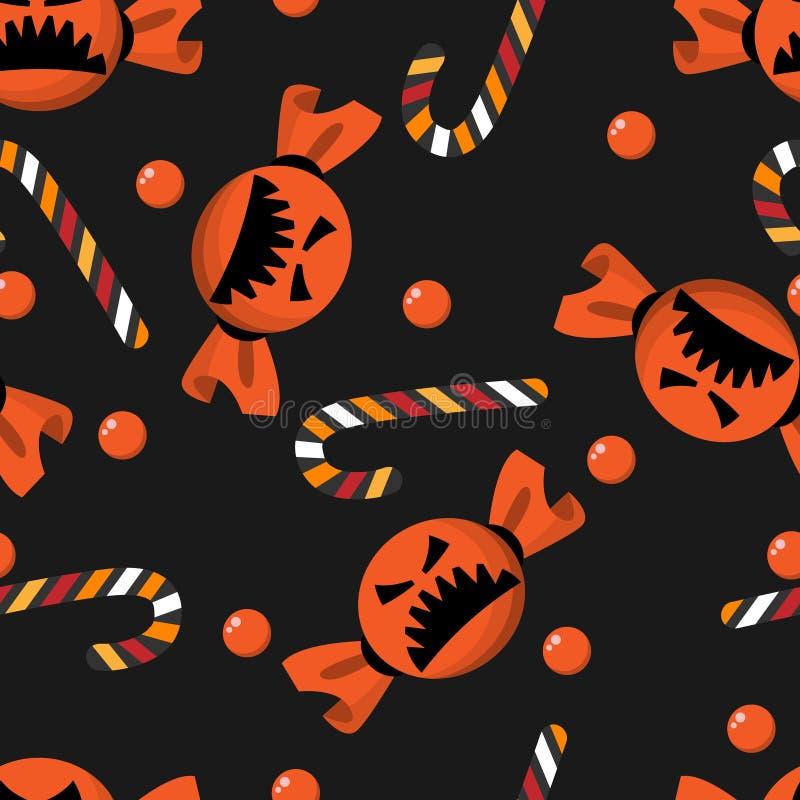 Nahtloses Muster der netten Halloween-Süßigkeits- und -zuckerstange stock abbildung