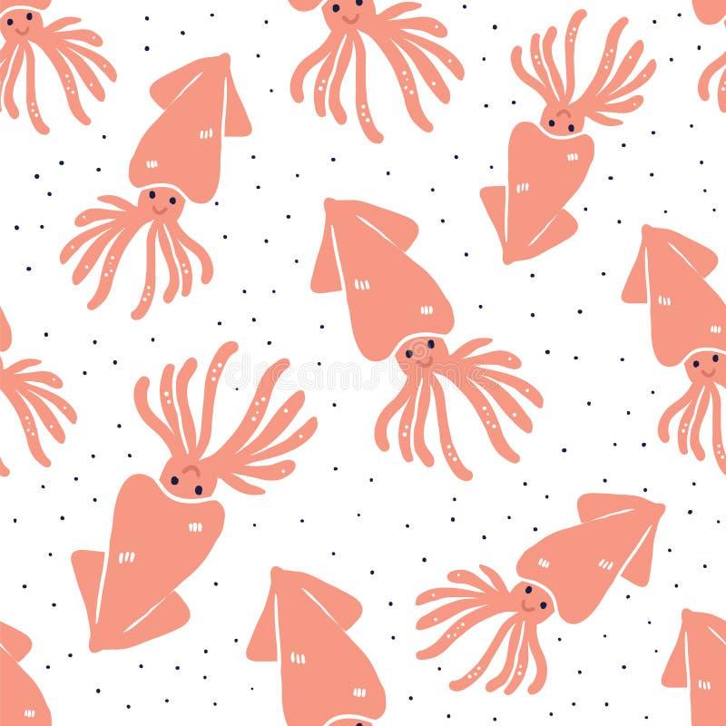 Nahtloses Muster der netten Handgezogenen Kalmare lizenzfreie abbildung