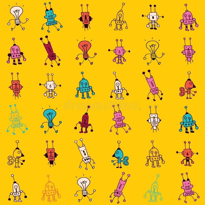 Nahtloses Muster der netten Karikaturroboter-Charaktere stock abbildung