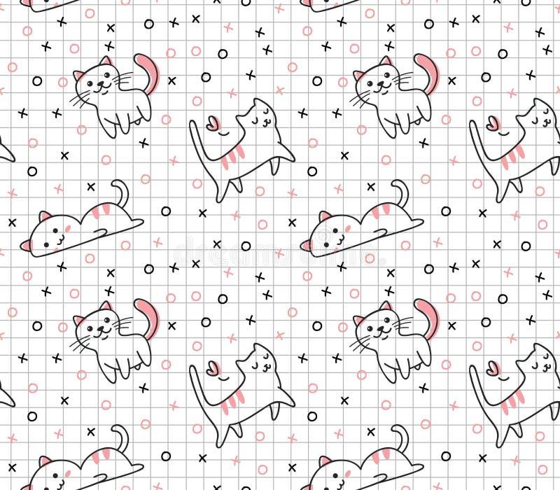 Nahtloses Muster der netten Katze in der kawaii Gekritzelart-Vektorillustration lizenzfreie abbildung