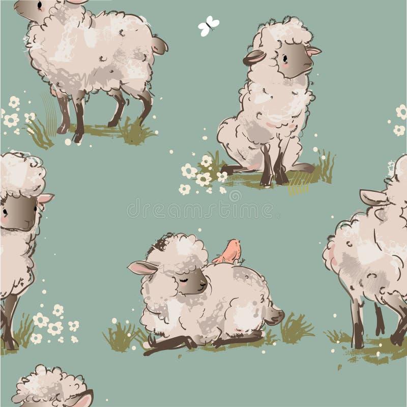 Nahtloses Muster der netten Schafe vektor abbildung