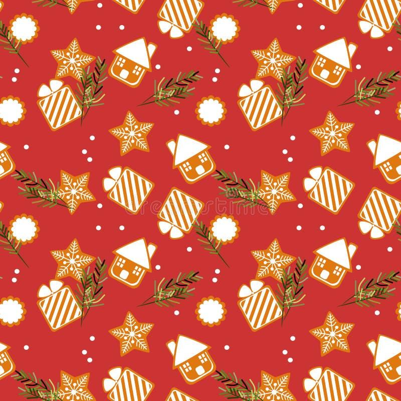 Nahtloses Muster der netten Weihnachtsplätzchen stock abbildung