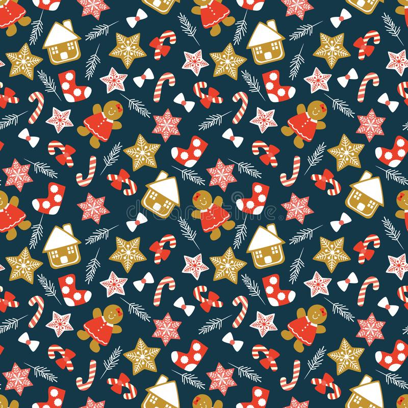 Nahtloses Muster der netten Weihnachtsplätzchen vektor abbildung